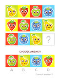 IQ test. Logical tasks composed of colored fruits Stock Image