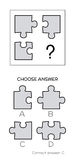 IQ test. Logical tasks composed of puzzles shapes Royalty Free Stock Photos