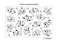 Find the two identical butterflies visual puzzle and coloring page. IQ training find the two identical butterflies visual puzzle and coloring page. Answer Royalty Free Stock Photography