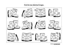 Find the two identical pictures with gumboots visual puzzle and coloring page. IQ training find the two identical pictures with gumboots visual puzzle and Royalty Free Stock Images