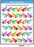 Picture riddle with rows of colorful paper planes Royalty Free Illustration