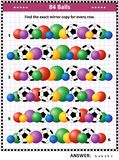 IQ training visual puzzle with rows of balls. Soccer or football themed IQ training picture puzzle: Match the pairs - find the exact mirror copy for every row of Stock Photo