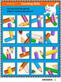 Counting pencils visual logic puzzle Stock Images