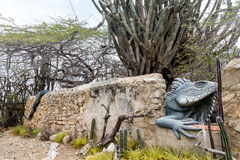 Iquana Statue on Curacao Stock Images