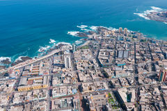 Iquique. Aerial view of downtown Iquique in the Atacama Desert, Chile royalty free stock images