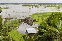 Iquitos, Peru. Amazonas village. Typical indian tribes settlement on the edge of amazon river royalty free stock image