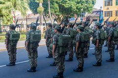 IQUITOS, PERU - JULY 19, 2015: Military parade on Plaza de Armas square in Iquito. S stock image