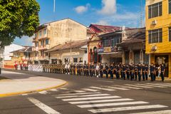 IQUITOS, PERU - JULY 19, 2015: Military parade on Plaza de Armas square in Iquito. S royalty free stock image