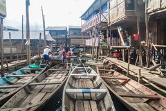 Belen neighborhood of Iquitos. IQUITOS, PERU - JULY 18, 2015: View of partially floating shantytown in Belen neigbohood of Iquitos, Peru stock photos