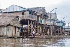 Belen neighborhood of Iquitos. IQUITOS, PERU - JULY 18, 2015: View of partially floating shantytown in Belen neigbohood of Iquitos, Peru royalty free stock photos