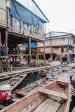 Belen neighborhood of Iquitos. IQUITOS, PERU - JULY 18, 2015: View of partially floating shantytown in Belen neigbohood of Iquitos, Peru stock photo