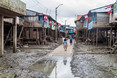 Belen neighborhood of Iquitos. IQUITOS, PERU - JULY 18, 2015: View of partially floating shantytown in Belen neigbohood of Iquitos, Peru royalty free stock photography