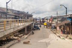 Belen neighborhood of Iquitos. IQUITOS, PERU - JULY 18, 2015: View of partially floating shantytown in Belen neighborhood of Iquitos, Peru royalty free stock images