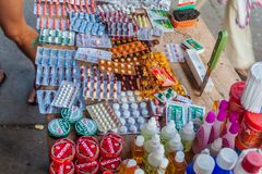 Various pills for sale. IQUITOS, PERU - JUNE 17, 2015: Various pills for sale on Belen Market in Iquitos royalty free stock photo