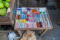 Various pills for sale. IQUITOS, PERU - JUNE 17, 2015: Various pills for sale on Belen Market in Iquitos stock photography