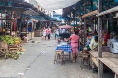 Belen Market in Iquitos. IQUITOS, PERU - JUNE 17, 2015: View of Belen Market in Iquitos stock photo
