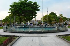 Plaza de Armas, Iquitos, Peru. IQUITOS, PERU - OCTOBER 17, 2015: Plaza de Armas. The centrally located square features a circular pool, and the Obelisk of Heroes Royalty Free Stock Photography