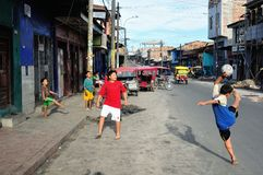 Iquitos - Peru. Play football in Belen in IQUITOS. Department of Loreto .PERU stock photo