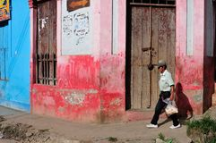 Iquitos - Peru. Street of Belen in IQUITOS . Department of Loreto .PERU royalty free stock image