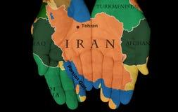 Irán en nuestras manos Fotos de archivo libres de regalías