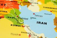Irã e Iraque no mapa Fotos de Stock