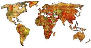 Irã no mapa de mundo isolado Fotos de Stock