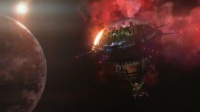 Ir à estação espacial perto do planeta e da nebulosa ilustração 3D Foto de Stock Royalty Free