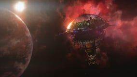 Ir à estação espacial perto do planeta e da nebulosa ilustração 3D Imagens de Stock Royalty Free