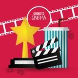 Ir à soda da concessão da tira da válvula do filme do cinema com palha Fotografia de Stock Royalty Free