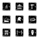 Ir aos ícones do museu ajustou-se, estilo do grunge Imagens de Stock