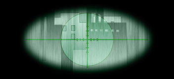 IR Scope Background. An ilustrated Infra red scope to the building shaped contours with a crosshair night vision stock illustration
