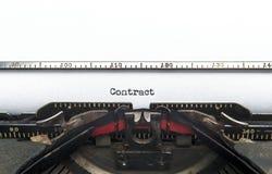 Máquina de escrever do contrato Fotografia de Stock