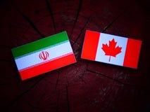 Irańczyk flaga z kanadyjczyk flaga na drzewnym fiszorku odizolowywającym zdjęcia royalty free