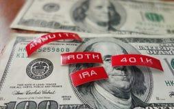 IRA和401k金钱 免版税库存照片