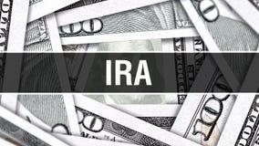 IRA Closeup Concept Dollars américains d'argent d'argent liquide, rendu 3D IRA au billet de banque du dollar Message publicitaire illustration libre de droits