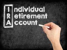 IRA - Individual Retirement Account concept. Hand writing by white chalk on a blackboard stock photography