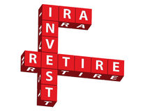 IRA, Invest and Retire. Red blocks spelling ira, invest and retire on a white background, saving for retirement stock photos