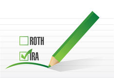 Ira over roth check list concept Royalty Free Stock Photos