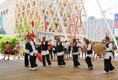 Ira?scy folklor?w tancerze tancz? z pasj? przed Iran pawilonem przy expo Milano 2015 fotografia royalty free
