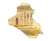 1000 Iraaks dinarbankbiljet in vorm van Irak stock foto's