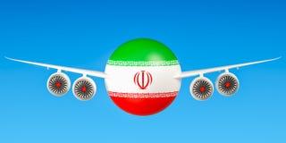 Iraanse luchtvaartlijnen en flying& x27; s concept 3d Royalty-vrije Stock Fotografie
