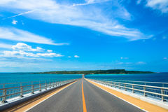 Irabu bridge Miyako Island in Okinawa. Blue sky Royalty Free Stock Image