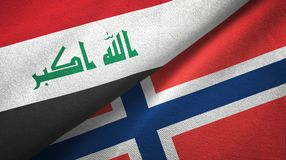 Irak en Noorwegen twee vlaggen textieldoek, stoffentextuur royalty-vrije illustratie