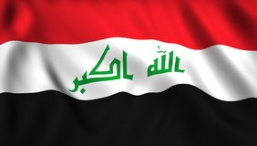 Irak flag waving in the wind stock illustration