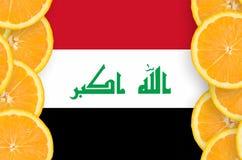 Irak flagga i vertikal ram för citrusfruktskivor royaltyfri foto