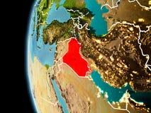 Irak från utrymme i afton royaltyfri illustrationer