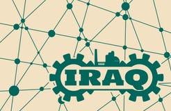 Irak ordbyggande i kugghjul Arkivbild