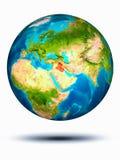 Irak ter wereld met witte achtergrond Stock Foto