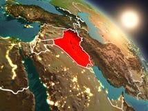 Irak van ruimte tijdens zonsopgang Stock Fotografie
