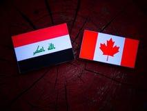 Irakijczyk flaga z kanadyjczyk flaga na drzewnym fiszorku odizolowywającym zdjęcie stock